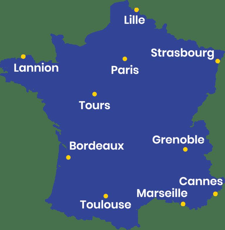 Cartes de formations en journalisme en France